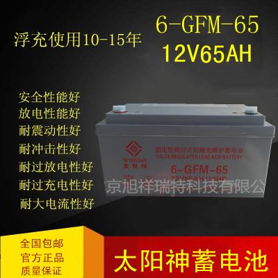 太阳神蓄电池12V65AH 6-GFM-65铅酸免维护企业监控/消防/太阳能板备用电源