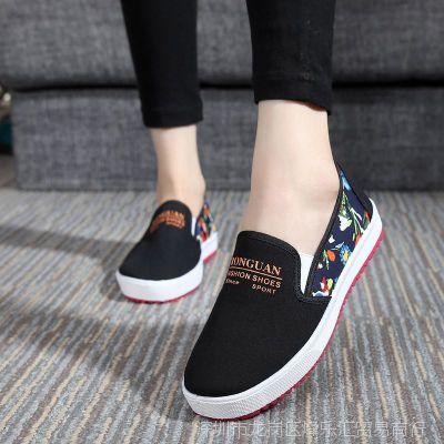 春秋运动鞋女士休闲布鞋中年妇女帆布鞋妈妈板鞋系带防滑旅游鞋子