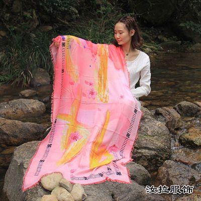 宁波梭织围巾厂,印花工艺加工宁波围巾,就到汝拉服饰,实力工厂