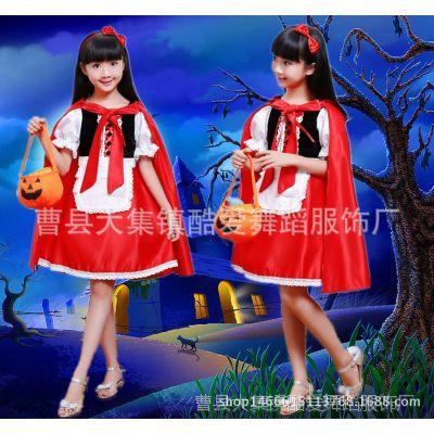 万圣节儿童服装女童宝宝cosplay小红帽角色扮演衣服公主裙演出服