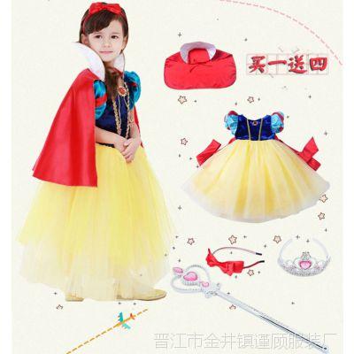白雪公主裙子女童万圣节儿童演出服装小女巫女孩王子服装表演服装