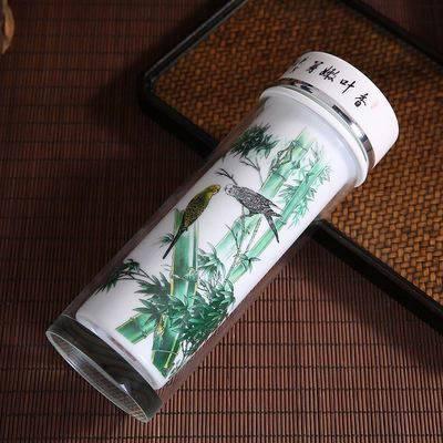景德镇水晶带盖瓷杯 双层防烫商务办公保温杯 企业LOGO定制礼品杯
