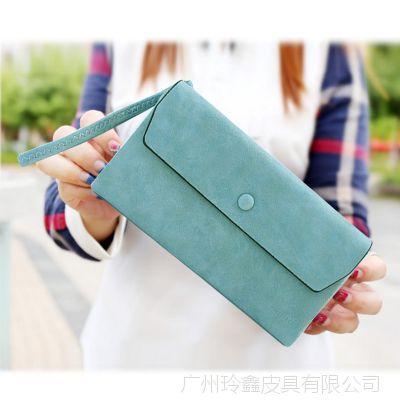 2018新款批发复古磨砂包盖三折女式长款钱夹手拿包手机钱包卡包