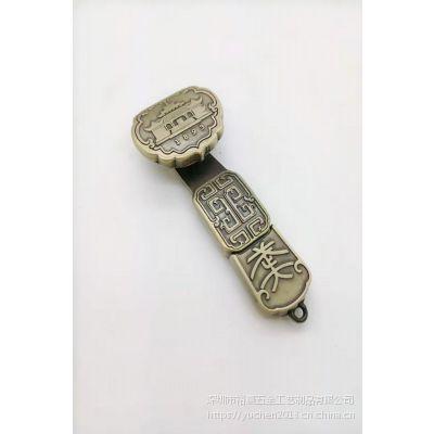 厂家定制特色金属仿古云纹如意U盘钥匙扣