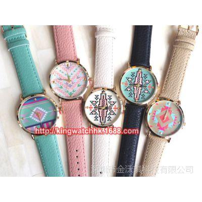 速卖通热卖 Aztec watch 阿兹台克印染手表 时尚小清新皮带手表