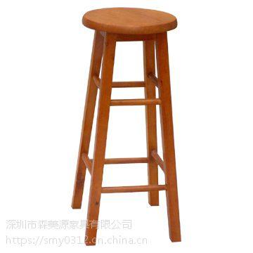 休闲椅复古吧台椅实木酒吧椅子做旧圆吧凳高脚餐椅咖啡椅