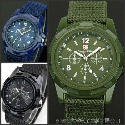 现货时尚尼龙带简约男士手表 布带军表户外夜光针运动手表男表