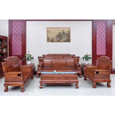 名琢世家精湛工艺刺猬紫檀客厅沙发超低价