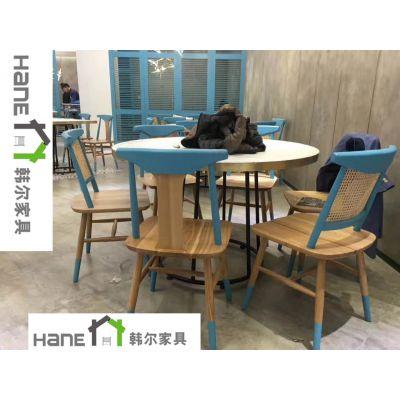 上海韩尔餐饮品牌家具 杨浦区HL-012餐厅桌椅 实木餐桌椅定制
