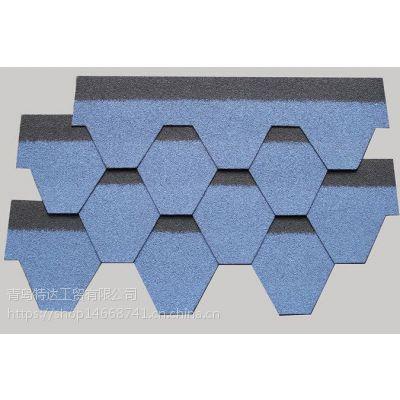 热销供应六边形木屋玻纤胎油毡瓦 单层马赛克型沥青瓦国标玻璃纤维