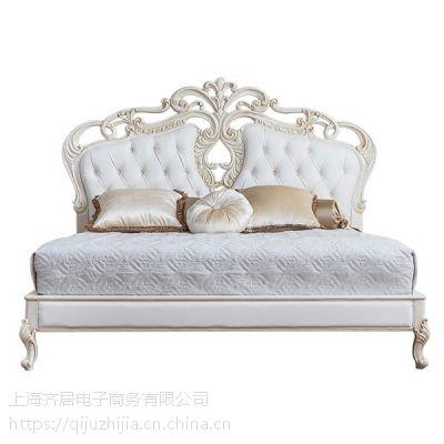 欧式实木家具 齐居置家超纤皮欧式实木床