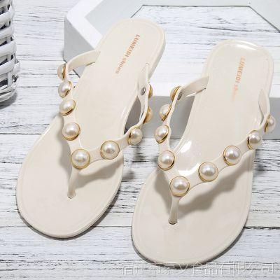 纯色时尚拖珍珠女凉拖鞋时尚平底鞋防滑夹趾沙滩室外女鞋夏季