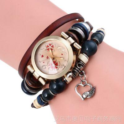 复古串珠手链女款手表 2018新款女士石英表 小表盘简约女生手表