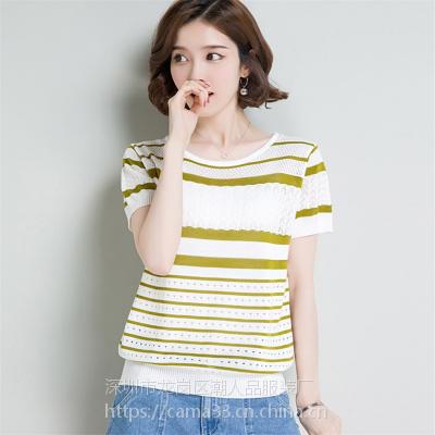 2018夏季短袖女式休闲针织衫上衣 库存韩版女式短袖T恤 女装打底衫
