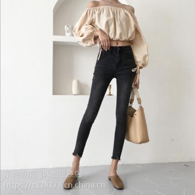 广西钦州哪里有低价韩版牛仔裤时尚小脚裤批发冬季牛仔裤厂家清货批发