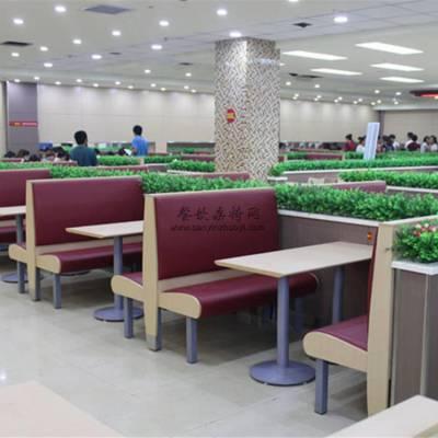 单位员工饭堂钢木卡座桌子组合,饭堂家具供货公司