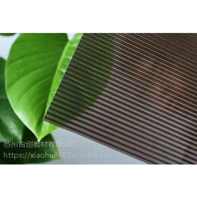 泰安茶色阳光板雨棚 停车场阳光板顶棚 阳光板弯曲幅度