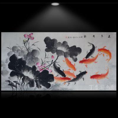 纯手工国画花鸟画客厅装饰画九鱼图连年有余荷花金鱼风水画真迹