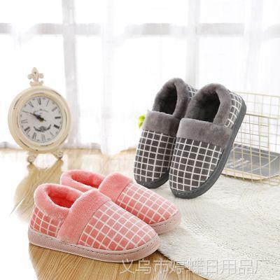 冬季保暖情侣包跟棉拖鞋男女室内高帮纯色加厚软底毛毛月子拖鞋冬