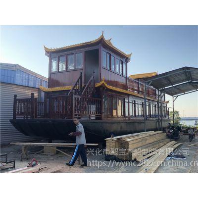 殿宝木船厂家供应画舫餐饮船 大型仿古电动船 景区观光船 旅游休闲木船