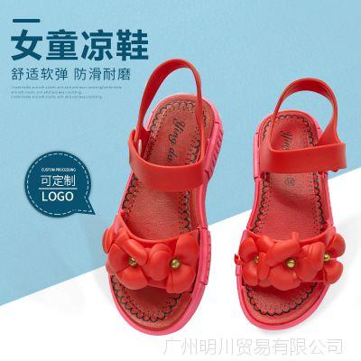 新款女童凉鞋夏季一字搭小学生花朵软底公主鞋防滑搭扣轻便童鞋