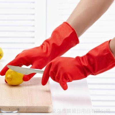 加绒短款洗碗手套橡胶家用保暖洗衣防水家务手套 厂家直销