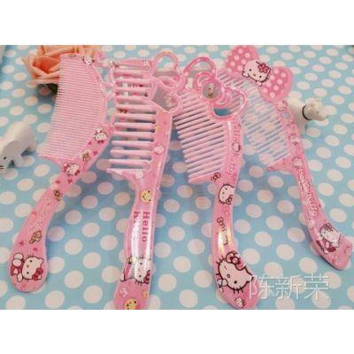 hello kitty可爱公主梳子 KT卡通化妆梳 随身梳 KT猫密齿宽齿梳子