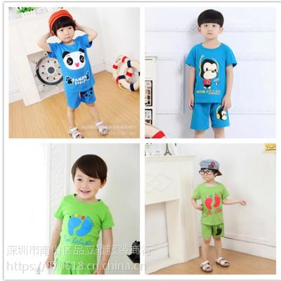 夏季儿童短袖套装T恤短裤100%纯棉男女童装宝宝短袖两件套