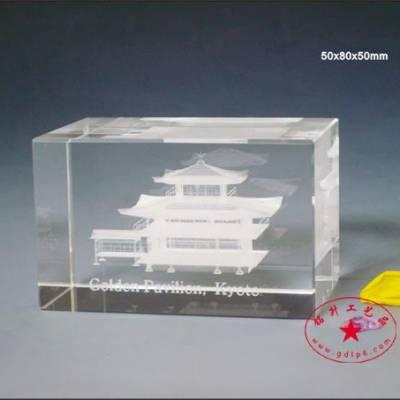 著名古楼水晶内雕纪念品,景点旅游水晶礼品摆件定做,可带灯光底座