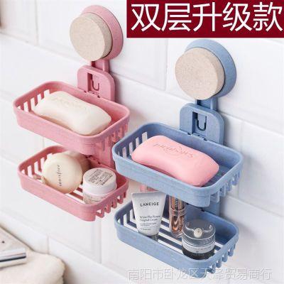 吸盘肥皂盒免打孔壁挂欧式双层卫生间大号吸壁式香皂盒沥水约