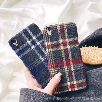 iPhoneX英伦格子毛绒布手机壳秋冬创意vivo x20/oppor11情侣保护