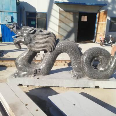 石雕龙青石生肖二龙戏珠雕塑大理石水池景观吐水龙摆件厂家定做