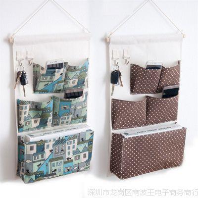 门后墙上衣柜家居布艺挂袋 宿舍墙挂悬挂整理多层收纳储物小布兜