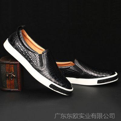厂家分销批发 时尚板鞋 男士鳄鱼皮鞋男鞋真皮鳄鱼肚皮休闲夏款鞋