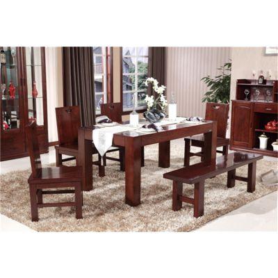 泰安实木家具 木言木语中式实木餐桌椅 纯黄柏不含辅材