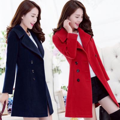 北京大红门去哪里批发新款秋韩版格子双面羊绒大衣赫本风毛呢大衣女中长款羊毛外套