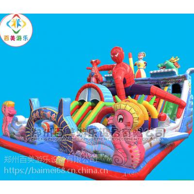 山东滨州儿童充气大滑梯,广场赶庙会气垫蹦蹦床造型新颖质量看得见