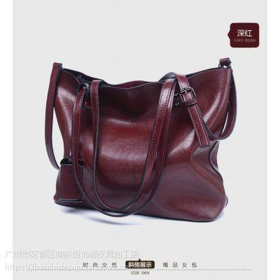女包批发2018新款欧美时尚托特包复古油皮大容量单肩手提包