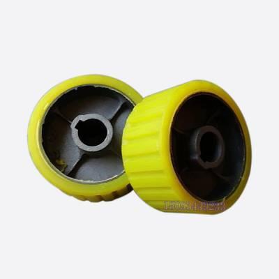 聚氨酯黄色胶轮 优质滚筒搅拌机耐磨胶轮 搅拌机托轮滚轮摩擦轮
