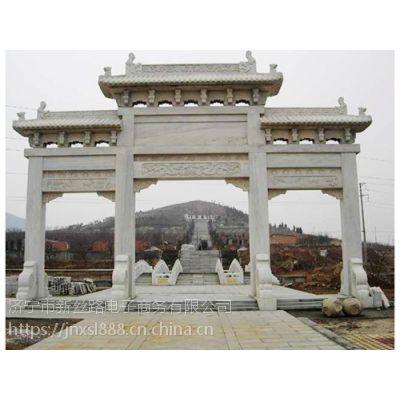 山东石雕牌坊的样式/ 上等的石雕牌坊楼/ 手绘图案石雕牌坊