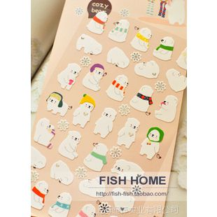 .韩国FUNNY 手机贴纸 日记纸质贴纸 白色北极熊