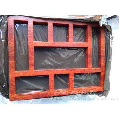 定制保利房地产销售中心铝花格窗 中式木纹仿古花格窗
