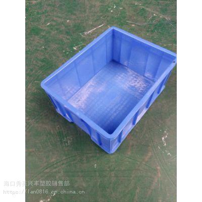 厂家热销周转箱 物流箱运输箱蓝色 海南塑料周转箱 塑料框胶框可烫金530*410*235