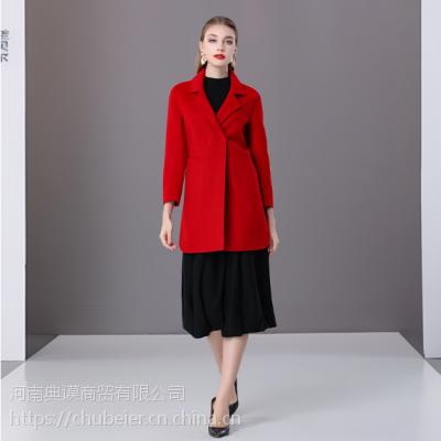楚贝尔2018秋冬羊毛大衣女中长款红色小个子双面毛呢时尚修身无羊绒