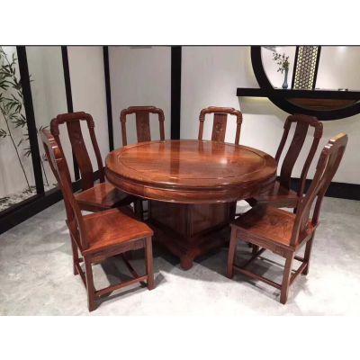 正棕刺猬紫檀红木家具圆餐椅配套生产厂家 名琢世家品牌