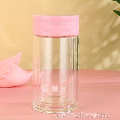 怡斯新款礼品玻璃水杯200ML双层耐高温杯子义乌百货女士茶杯批发