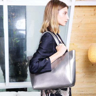 广州女包工厂新品欧美时尚真皮女包牛皮单肩手提包大容量女士购物