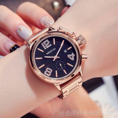新款韩国时尚大表盘手表女休闲装饰时装表大牌潮流女士石英表批发
