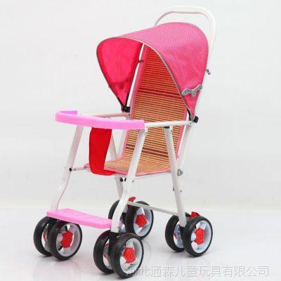 厂家直销儿童推车散把车小孩仿藤编竹板车可折叠便携式小推车带蓬