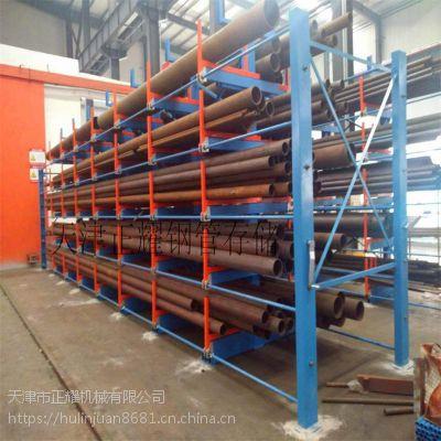 无缝管材货架伸缩悬臂式存放6米12米的无缝钢管